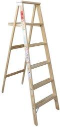 ミシガンステップラダー木製脚立・6フィート・USA製 (約)W350(530)×H1720(天板D130) 重さ約9kg *配送費無料!!(一部の地域除く)