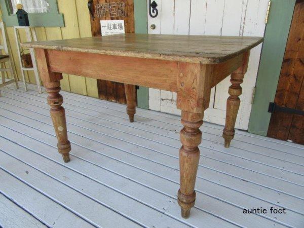 画像1: No54 イギリス製・アンティークテーブル・ロクロ脚(パイン材) 約・W1060×D900×H750 *現品限り。