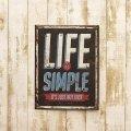 アンティークエンボスプレート[Life Is Simple] (約)W25×H33cm