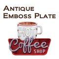 アンティークエンボスプレート[ダイカット(COFFEE SHOP)] (約)W48×H38cm *御手頃価格