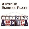 アンティークエンボスプレート[ダイカット(GOD BLESS AMERICA)](約)W55×H22cm *御手頃価格