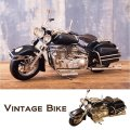 ヴィンテージカー[オールド バイク] ブラック(ブリキ製) (約)W.28cm x D.11cm x H.14.5cm