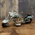 <ミニ>ヴィンテージカー[Old バイク] BLUE (ブリキ製) (約)W.19xD.18.5xH.11.5cm